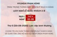 Hyundai Phạm Hùng Thông báo lịch nghỉ lễ Quốc khánh 2/9/2020